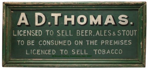 1095: AMERICAN PAINTED WOOD ADVERTISING SIGN, green gro