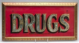 1099 AMERICAN REVERSE PAINTED GLASS ADVERTISING SIGN