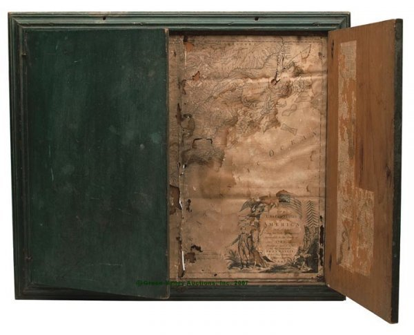 1118: AMERICAN GREEN-PAINTED PINE WALL MAP CASE, finely