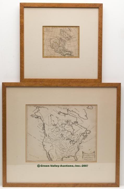 """1187: TWO NORTH AMERICA MAPS, hand-colored """"North Ameri"""