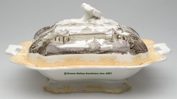 1503: STAFFORDSHIRE TWO-COLOR TRANSFERWARE COVERED DISH