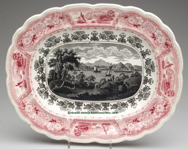 1508: STAFFORDSHIRE TWO-COLOR TRANSFERWARE PLATTER, red