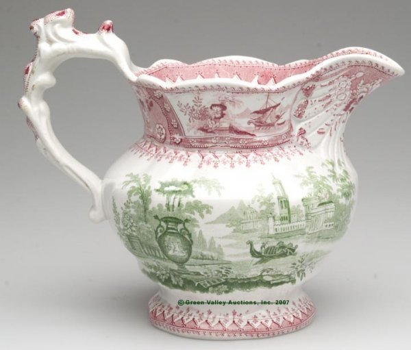 1511: STAFFORDSHIRE TWO-COLOR TRANSFERWARE PITCHER, red