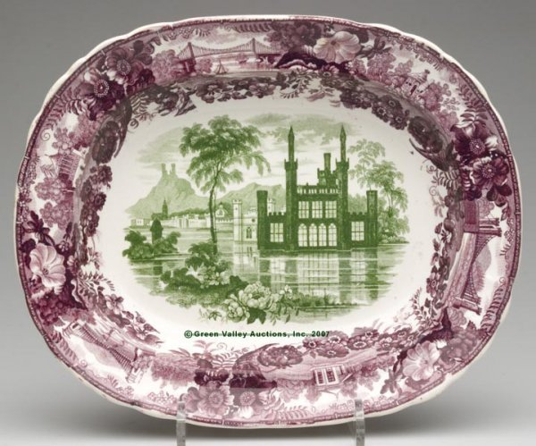 1512: STAFFORDSHIRE TWO-COLOR TRANSFERWARE SERVING DISH