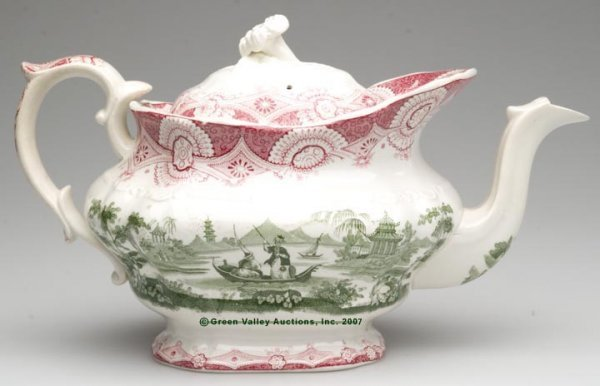 1521: STAFFORDSHIRE TWO-COLOR TRANSFERWARE TEAPOT, red