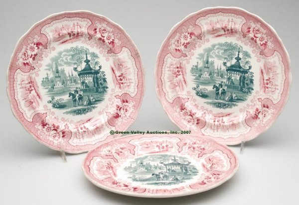 1522: STAFFORDSHIRE TWO-COLOR TRANSFERWARE PLATES, SET