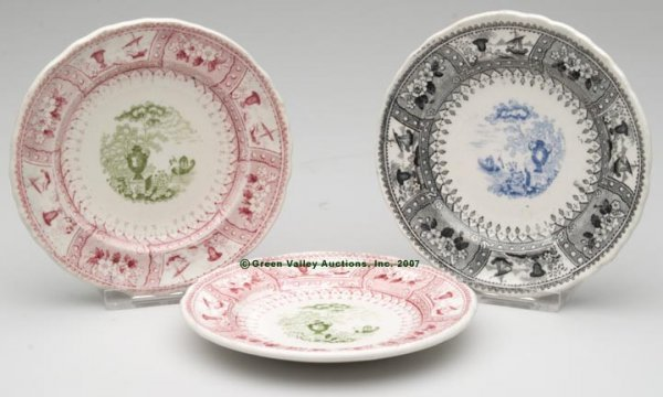 1523: STAFFORDSHIRE TWO-COLOR TRANSFERWARE CUP PLATES,
