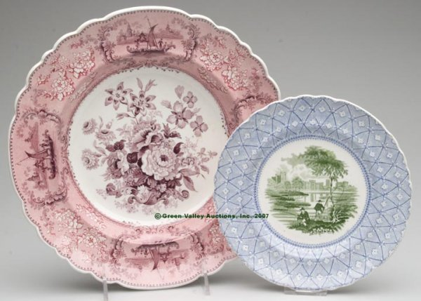 1524: STAFFORDSHIRE TWO-COLOR TRANSFERWARE, LOT OF TWO