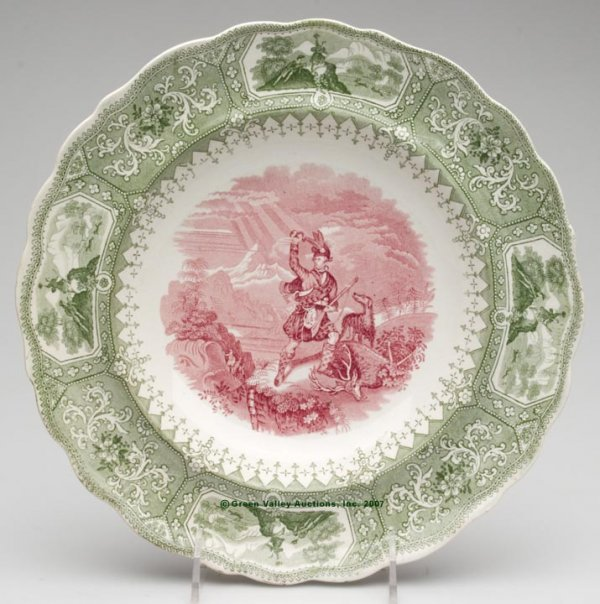 1526: STAFFORDSHIRE TWO-COLOR TRANSFERWARE SOUP PLATE,