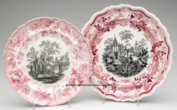 1528: STAFFORDSHIRE TWO-COLOR TRANSFERWARE PLATES, LOT
