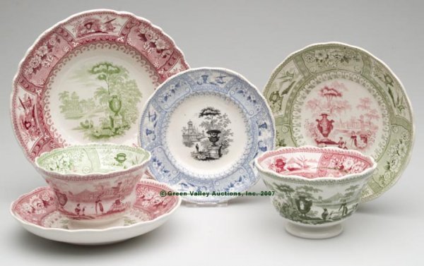 1529: STAFFORDSHIRE TWO-COLOR TRANSFERWARE, LOT OF FOUR