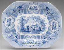 1622 STAFFORDSHIRE TRANSFERWARE PLATTER blue and whit