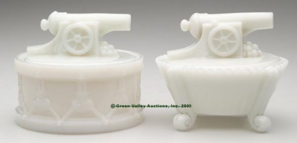 3: CIVIL WAR CANNON COVERED DISHES, LOT OF TWO, opaque