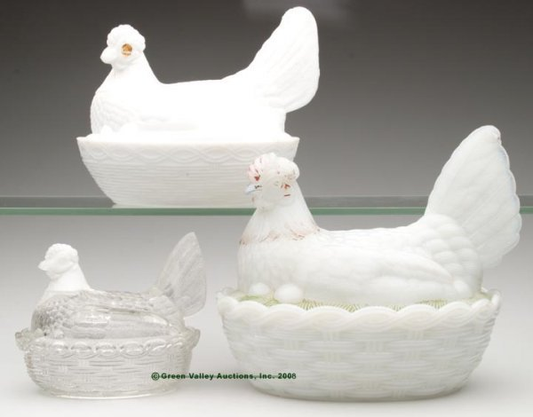 6: HEN COVERED DISHES, LOT OF THREE, opaque white/milk