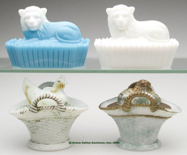12: VARIOUS ANIMAL COVERED DISHES, LOT OF FOUR, opaque