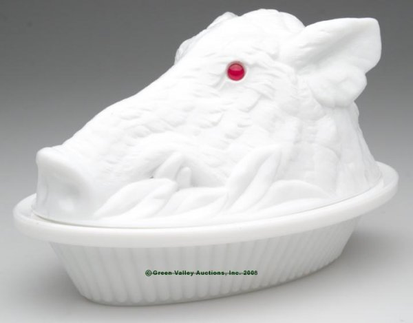 21: BOAR'S HEAD COVERED DISH, opaque white/milk glass,
