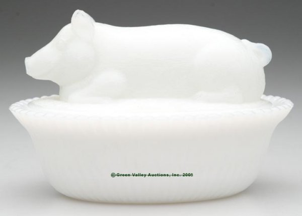22: MCKEE PIG COVERED DISH, opaque white/milk glass, sp