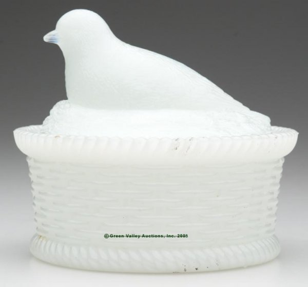 23: MCKEE CANARY COVERED DISH, opaque white/milk glass,