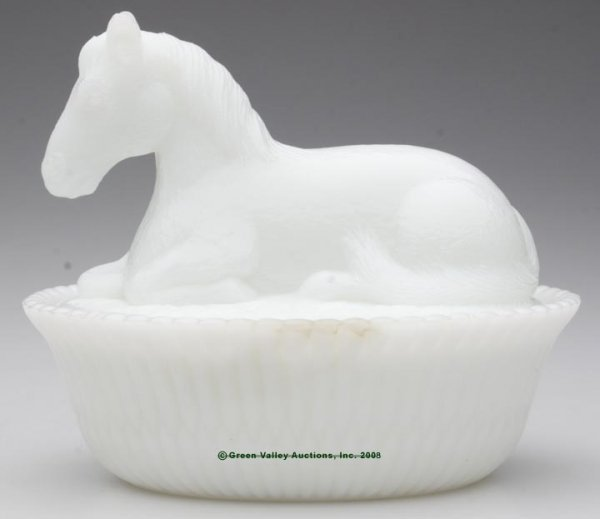 24: MCKEE HORSE COVERED DISH, opaque white/milk glass,