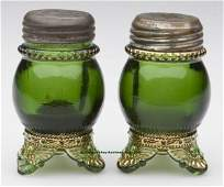 196: COLORADO PAIR OF FOOTED SALT AND PEPPER SHAKERS, g