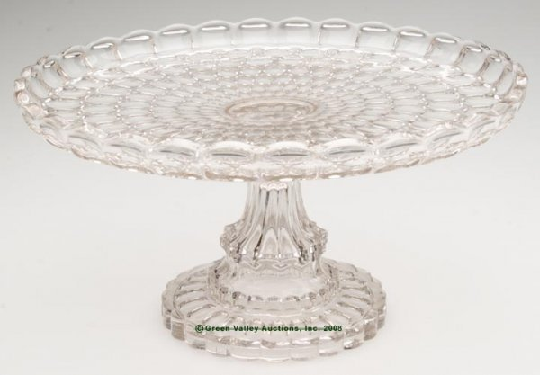 230: EARLY THUMBPRINT SALVER / CAKE STAND, colorless fl