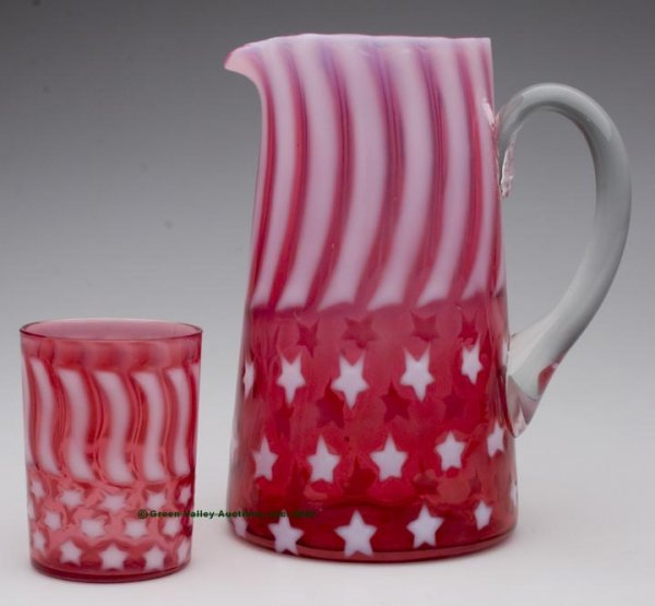 790: STARS AND STRIPES WATER PITCHER AND TUMBLER, cranb