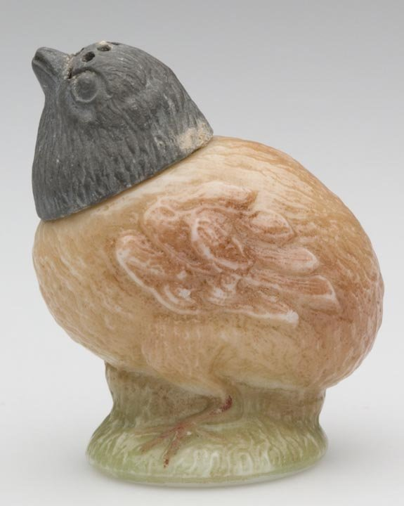 1512: CHICK ON PEDESTAL SALT SHAKER, opaque white with