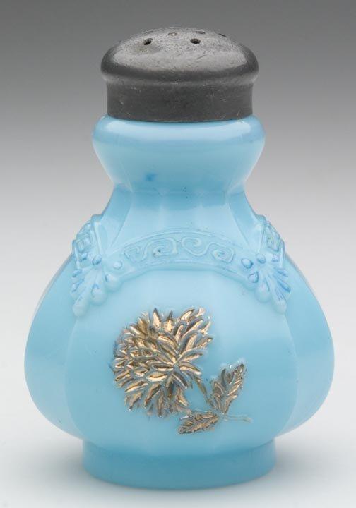 1513: CHRYSANTHEMUM SPRIG / PAGODA SALT SHAKER, turquoi