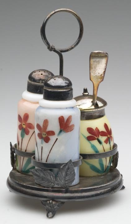 1523: DECORATED OPAL THREE-PIECE CONDIMENT SET, each wi