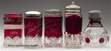 1644: RUBY-STAINED SALT SHAKERS - VARIOUS PATTERNS, LOT