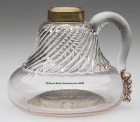 RIBBED FINGER LAMP,  Kerosene Period, Colorless, Ap