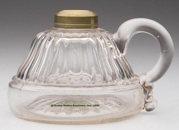 120: TAPERED RIB FINGER LAMP,  kerosene period, colorle