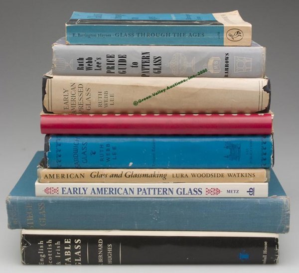 334: VARIOUS GLASS REFERENCE VOLUMES, LOT OF NINE,  inc