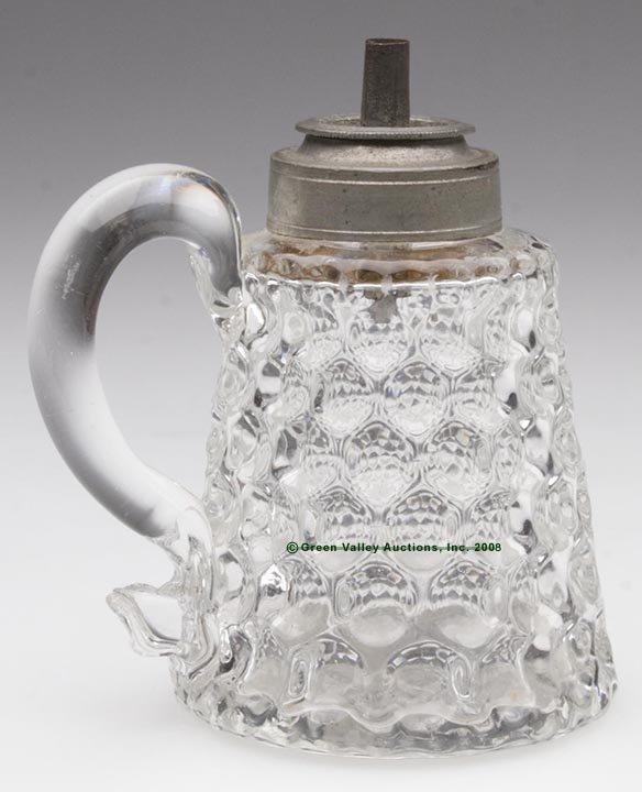 338: BABY THUMBPRINT DIMINUTIVE HAND LAMP, whale oil/fl