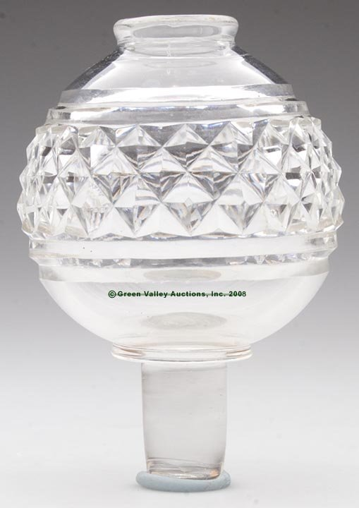 339: BLOWN AND CUT MITERED DIAMOND PEG LAMP, whale oil/