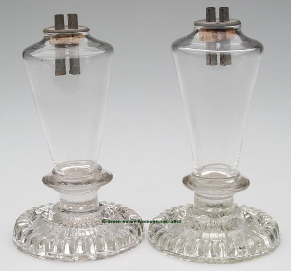 344: BLOWN CONICAL FONT PAIR OF STAND LAMPS, whale oil/