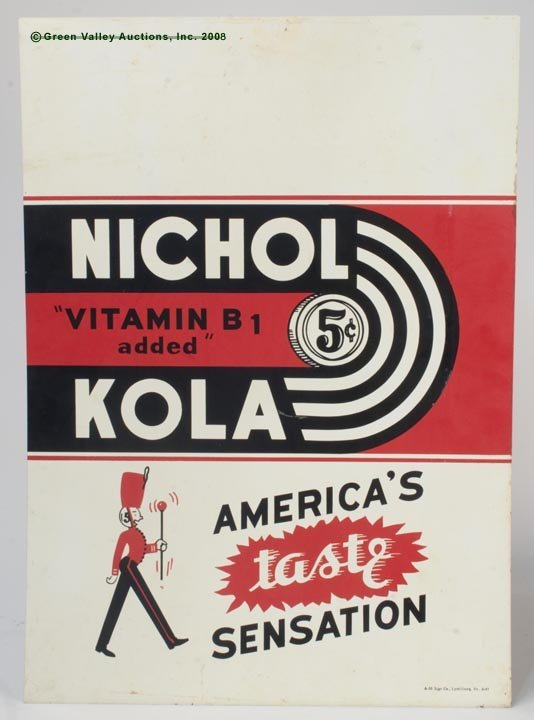 1169: NICHOL KOLA 5¢ TIN SIGN,  single sided, rectangul