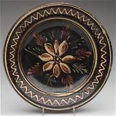 48: SLIP-DECORATED LEAD-GLAZED EARTHENWARE DISH, buff c