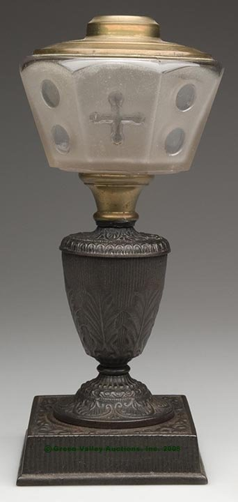 18: COMPOSITE STAND LAMP, kerosene period, colorless fr