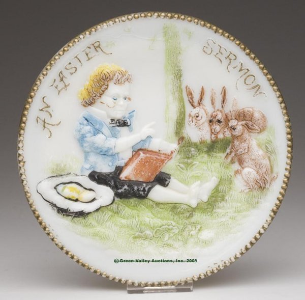 550: AN EASTER SERMON PLATE, opaque white/milk glass wi