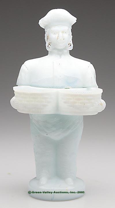 558: BAKER MAN COVERED JAR, opaque white/milk glass sho