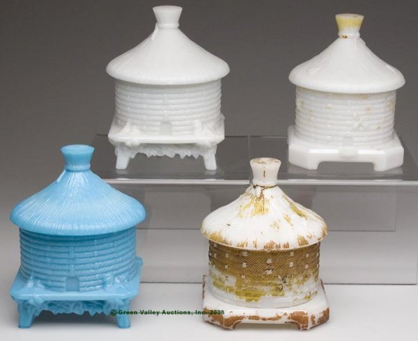 559: BEEHIVE COVERED DISHES, LOT OF FOUR, opaque white/