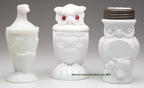 561: BIRD FIGURAL JARS, LOT OF THREE, opaque white/milk