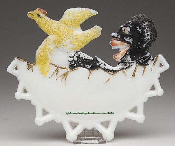 563: BLACK AMERICANA BOY CHASING CHICKEN PLAQUE, opaque