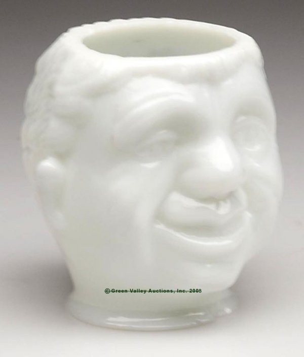 570: BLACK AMERICANA SMILING MAN LAMP SHADE, opaque whi