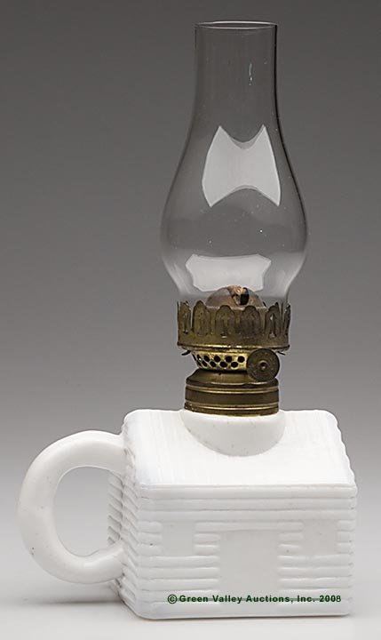 573: LOG CABIN FINGER LAMP, opaque white/milk glass, em