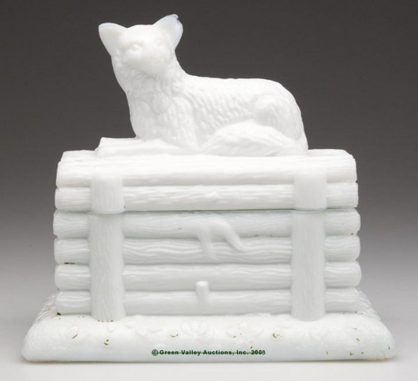 645: FOX ON LOGS COVERED BOX, opaque white/milk glass w