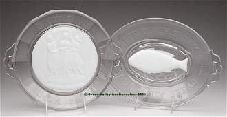 680: OPAQUE WHITE / MILK GLASS TRAYS, LOT OF TWO, color