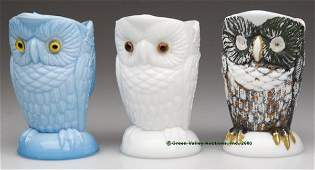 683 OWL INDIVIDUAL CREAMERS LOT OF THREE two opaque