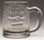 1077: PRESSED UNION FOR EVER CIVIL WAR MUG, colorless f